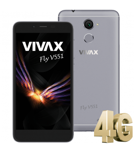"Telefon Mobil Vivax FLY V551 Gray, Fingerprint, Dual Sim, 5.5 "", HD IPS display, 16GB, 4G, camera 13 MP, Gray"